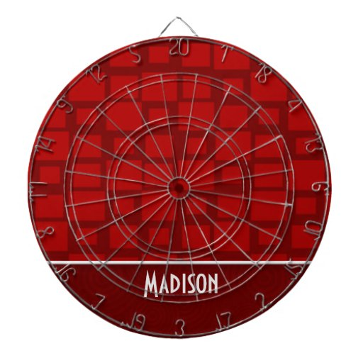 Red Retro Squares; Square Pattern Dart Board