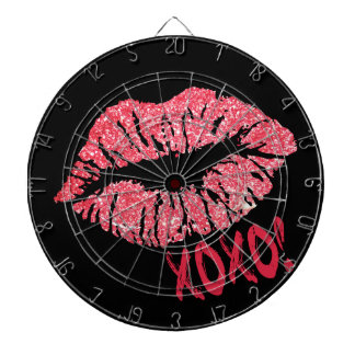 RED RETRO SUGAR LIPS XOXO DARTBOARD