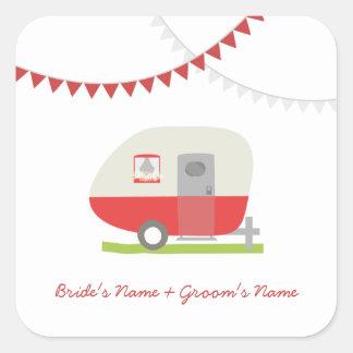 Red Retro Trailer Wedding Sticker