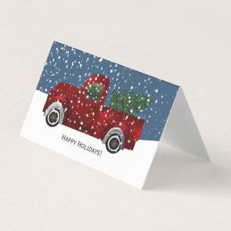 Red Retro Truck Christmas Tree Card
