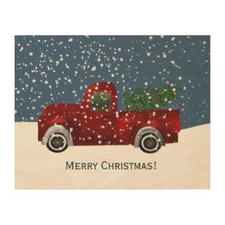 Red Retro Truck Christmas Tree Wood Print