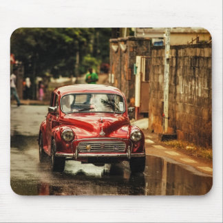 Red RetroMobile. Morris Minor Mouse Pads