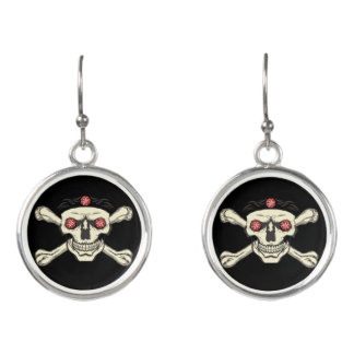 Red Rhinestone Eyes Skull Earrings - Skull Jewelry