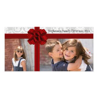 Red Ribbon Bow Christmas Greeting Custom Photo Card