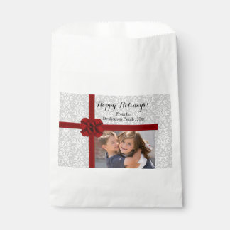 Red Ribbon Bow Christmas Photo Favour Bags
