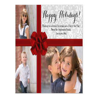 Red Ribbon Bow Christmas Photo Magnetic Invitations