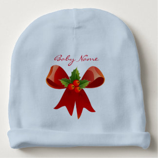Red Ribbon Bow Holly Thunder_Cove Green Baby Beanie