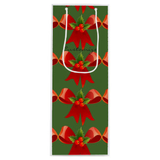 Red Ribbon Bow Holly Thunder_Cove Green Wine Gift Bag