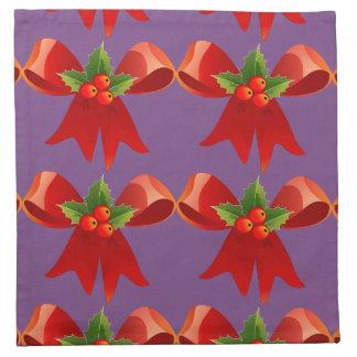 Red Ribbon Bow Holly Thunder_Cove Napkin