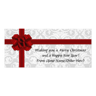 Red Ribbon Bow Imprinted Holiday Christmas Full Color Rack Card