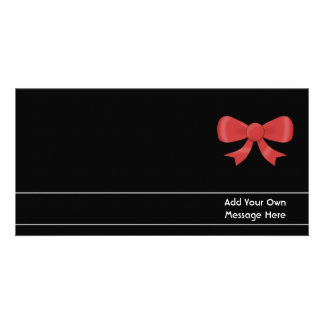 Red Ribbon Bow. On Black. Custom White Text Photo Greeting Card