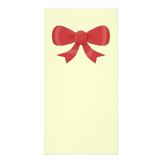 Red Ribbon Bow On Cream Picture Card