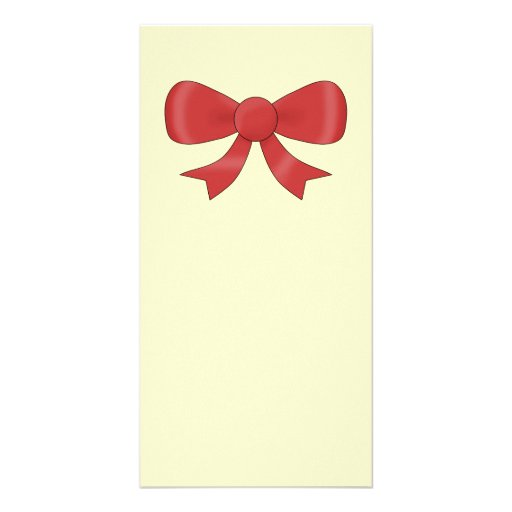 Red Ribbon Bow. On Cream. Picture Card