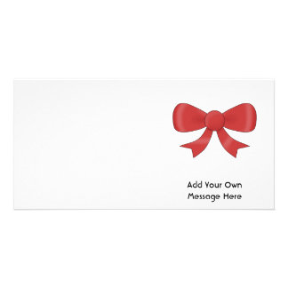 Red Ribbon Bow On White Custom Text Photo Cards