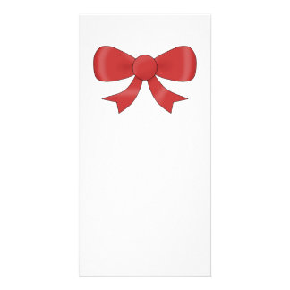 Red Ribbon Bow On White Photo Cards