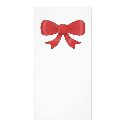 Red Ribbon Bow. On White. Photo Cards