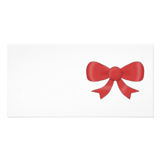 Red Ribbon Bow On White Personalized Photo Card