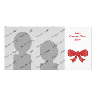 Red Ribbon Bow On White Photo Greeting Card