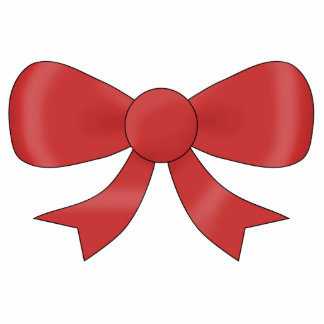Red Ribbon Bow. On White. Photo Cut Outs