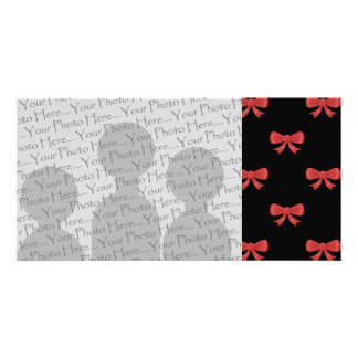 Red Ribbon Bow Pattern on Black Custom Photo Customized Photo Card