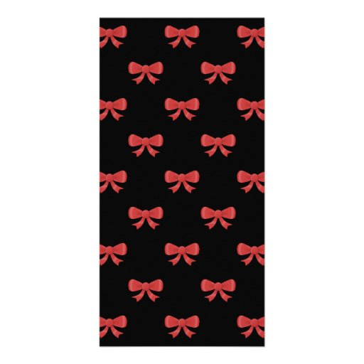 Red Ribbon Bow Pattern on Black. Customized Photo Card