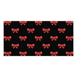 Red Ribbon Bow Pattern on Black Personalized Photo Card