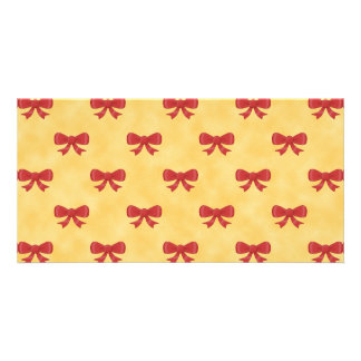 Red Ribbon Bow Pattern on Golden Yellow Picture Card