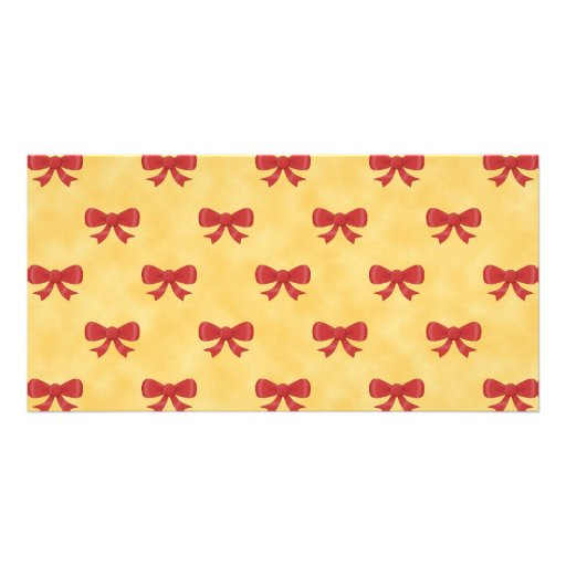 Red Ribbon Bow Pattern on Golden Yellow. Picture Card