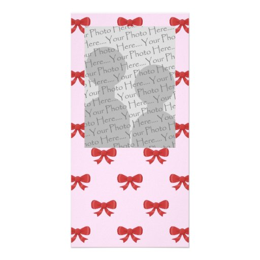 Red Ribbon Bow Pattern on Pink. Add Photo. Custom Photo Greeting Card