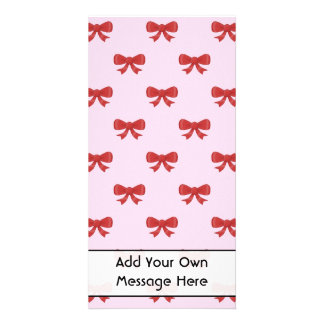 Red Ribbon Bow Pattern on Pink Custom Text Custom Photo Card