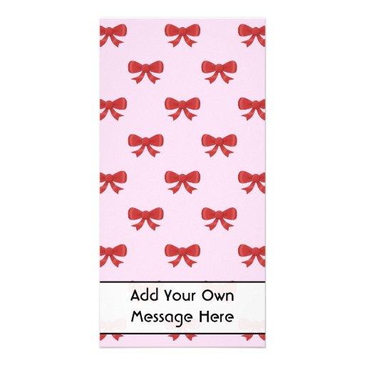 Red Ribbon Bow Pattern on Pink. Custom Text Custom Photo Card