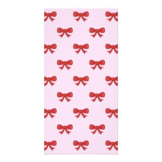 Red Ribbon Bow Pattern on Pink. Customized Photo Card
