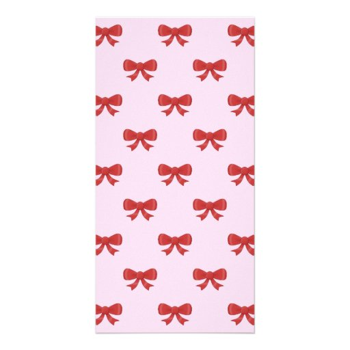 Red Ribbon Bow Pattern on Pink. Photo Greeting Card