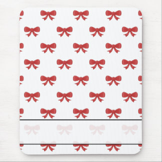 Red Ribbon Bow Pattern on White. Mouse Pad