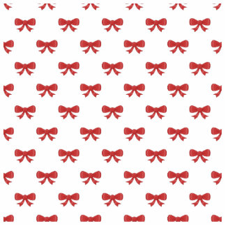 Red Ribbon Bow Pattern on White Photo Cutouts