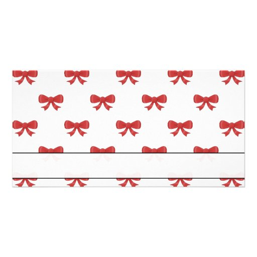 Red Ribbon Bow Pattern on White. Photo Greeting Card