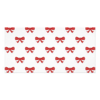 Red Ribbon Bow Pattern on White Photo Greeting Card