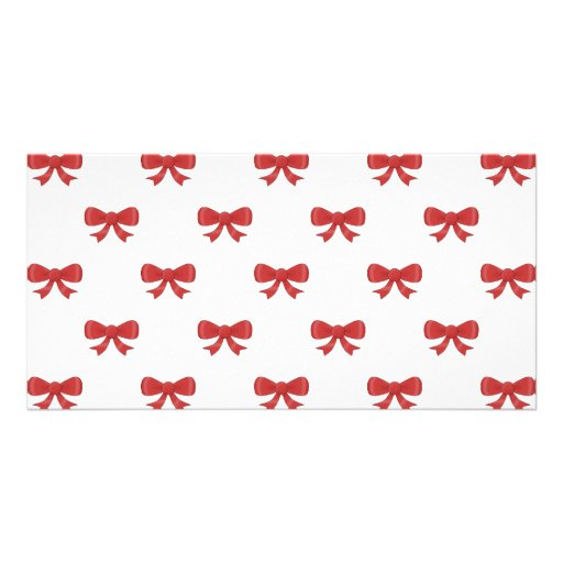 Red Ribbon Bow Pattern, on White. Photo Greeting Card