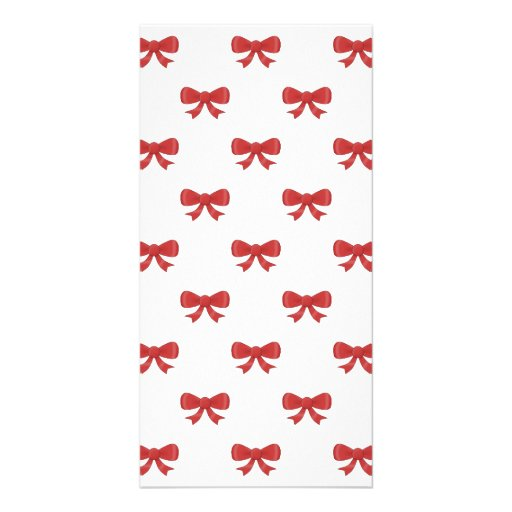 Red Ribbon Bow Pattern, on White. Photo Card