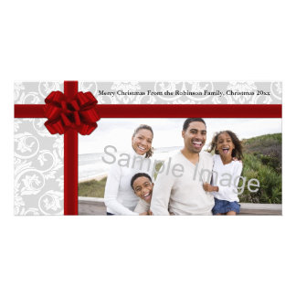 Red Ribbon Bow Personalized Photo Card