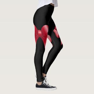 Red Ribbon Bows Leggings