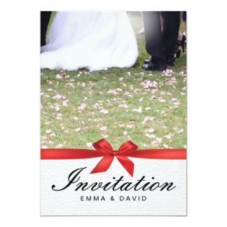 Red Ribbon Bride & Groom Wedding Invitations