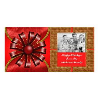 Red Ribbon Christmas Bow Photo Card