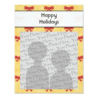 Red Ribbon Christmas Bows. Happy Holidays. Photo. Personalized Invites