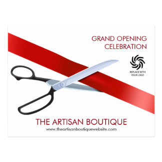 Red Ribbon Cutting Grand Opening Postcard
