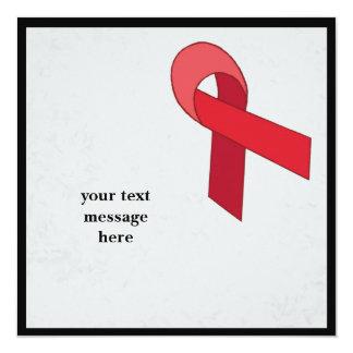 red ribbon event 13 cm x 13 cm square invitation card