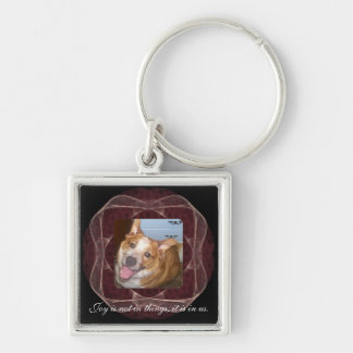Red Ribbon Fractal Art Frame Silver-Colored Square Key Ring