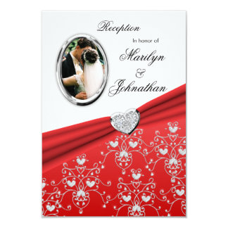 Red Ribbon Heart Damask  Reception Invitations