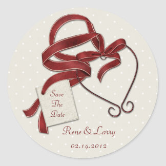 Red Ribbon Heart Save The Date Sticker