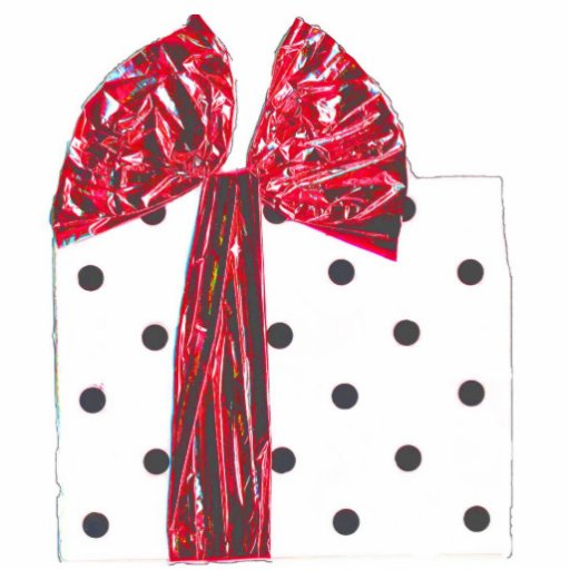 Red Ribbon Holiday Gift package Photo Cut Out